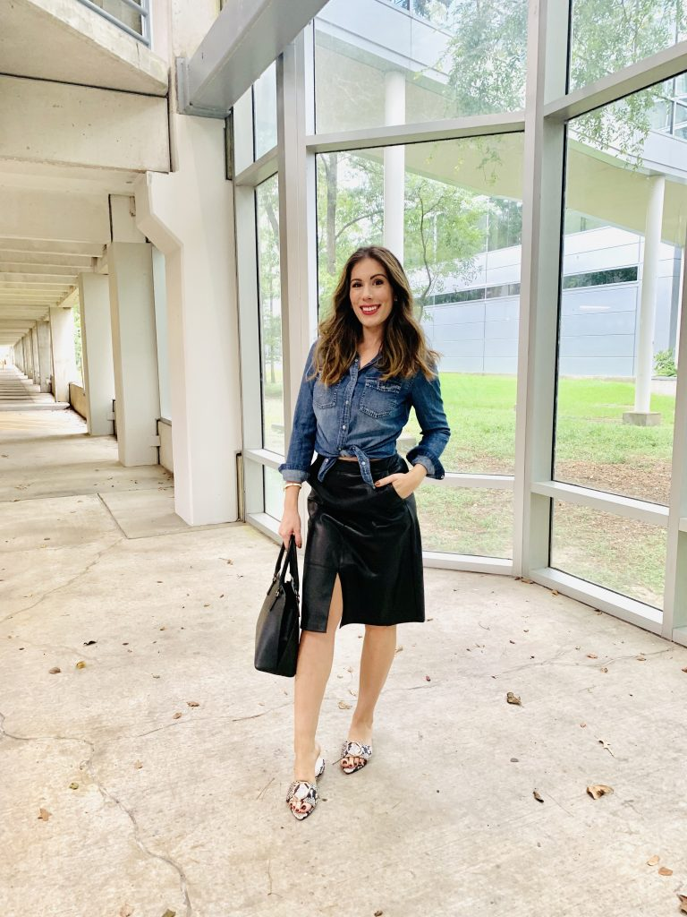 Houston Fashion Blogger Maria Munoz styling faux-leather skirt