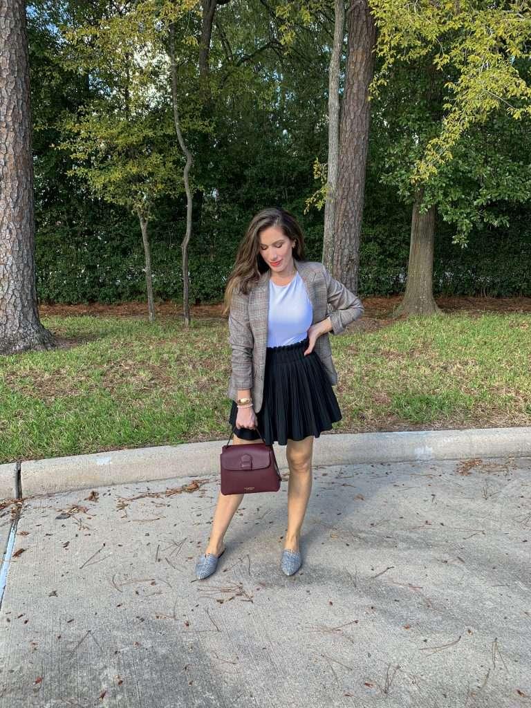 Houston fashion blogger Maria Munoz in plaid blazers for women