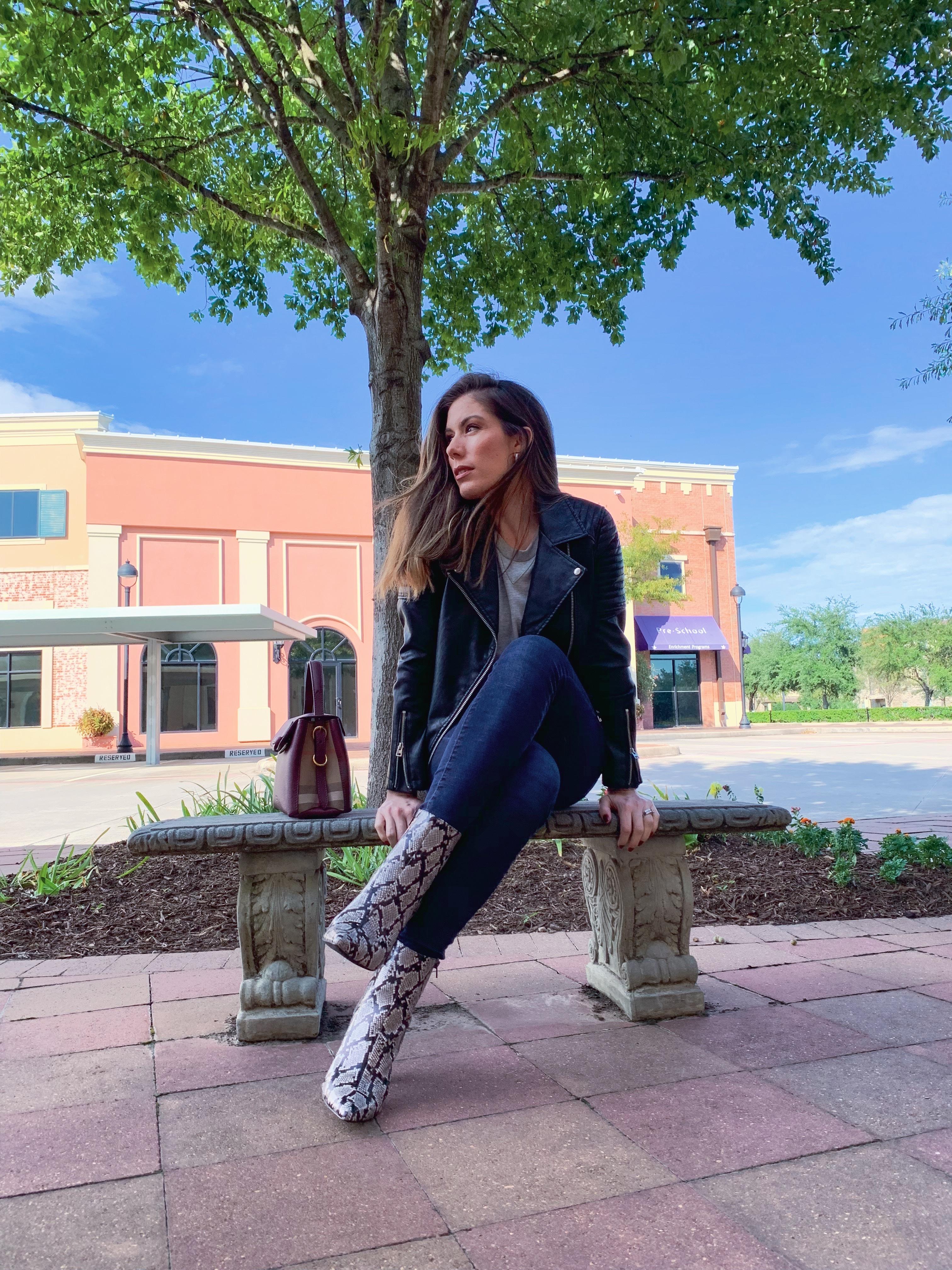 Houston fashion blogger Maria Munoz in snake print trend boots