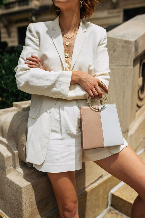 Women's white short suit