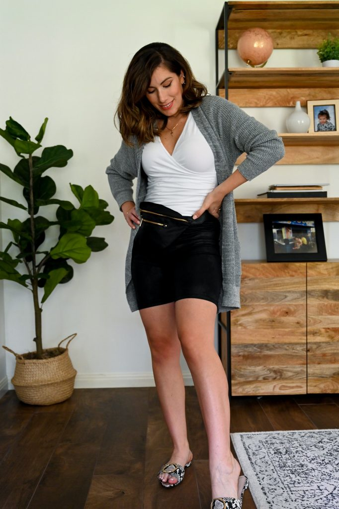 Houston fashion blogger Maria Munoz of Bella Style Living shares how to style biker shorts for fall