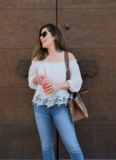 Off-the-Shoulder Top with Lace for Summer