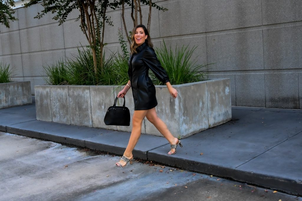 Houston fashion and lifestyle blogger Maria Munoz shares how to style a faux leather shirt dress
