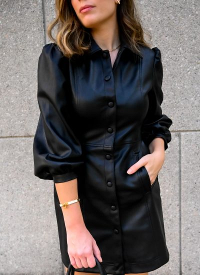 How to Style a Faux Leather Shirt Dress for Fall
