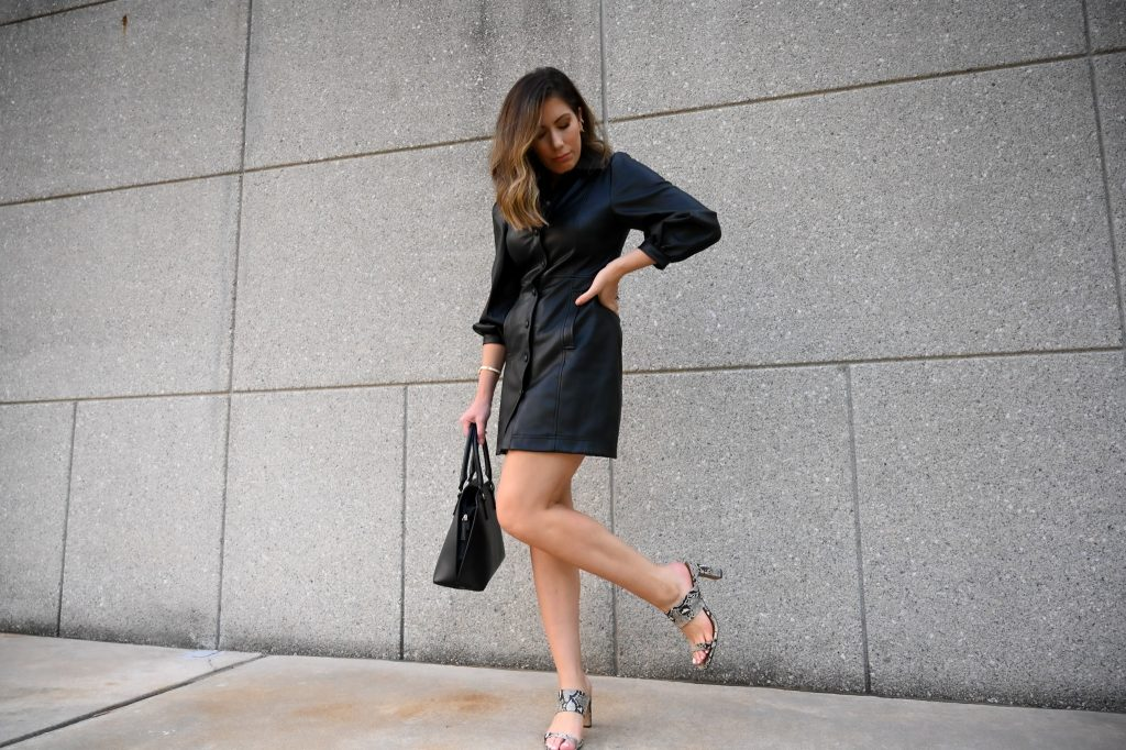 Houston style blogger Maria Munoz shares how to style a faux leather dress this fall.