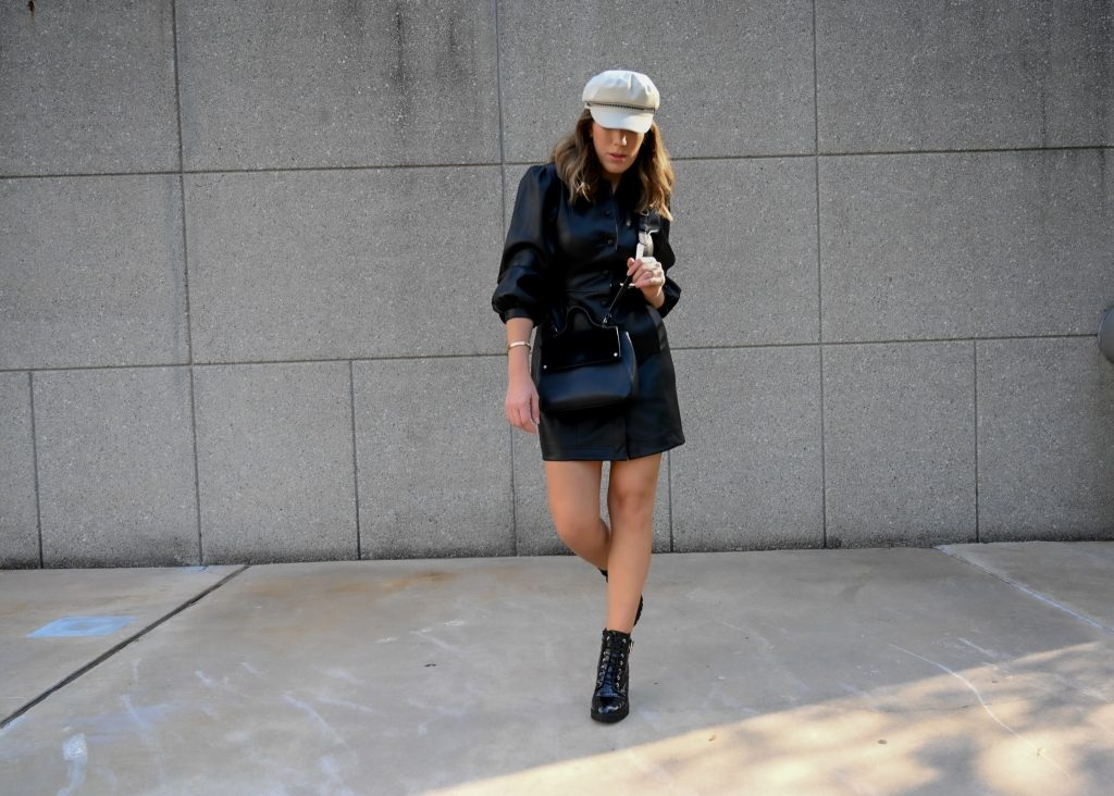 Houston fashion blogger Maria Munoz styles a faux leather shirt dress for fall