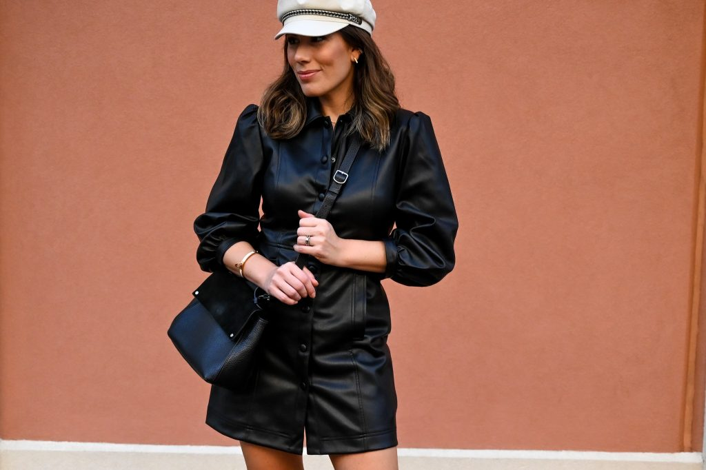 Houston lifestyle blogger Maria Munoz shares how to style a faux leather shirt dress