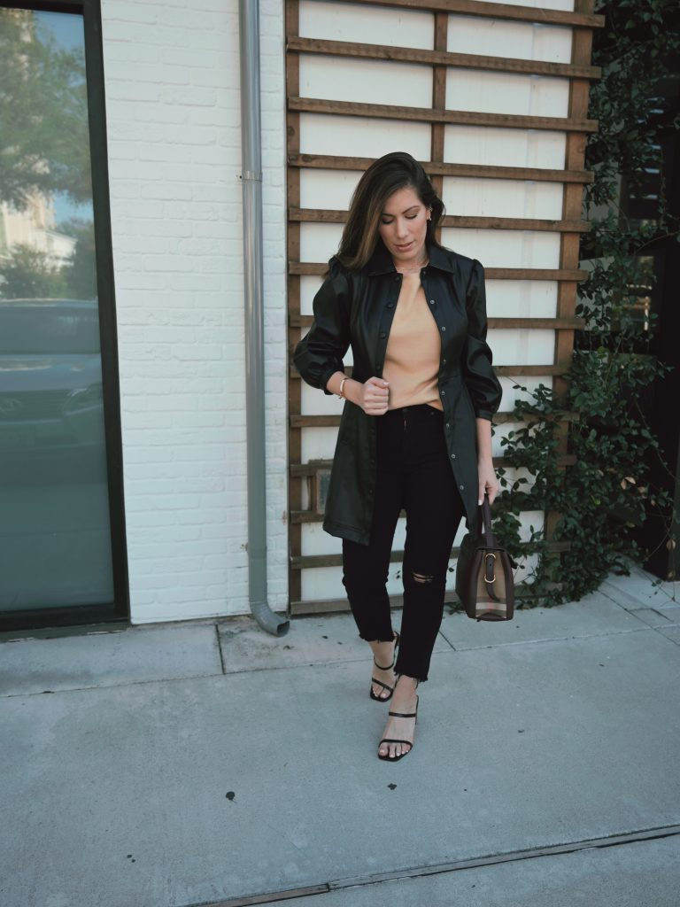Houston style blogger Maria Munoz of Bella Style Living fashion blog shares how to style a Topshop dress as a coat