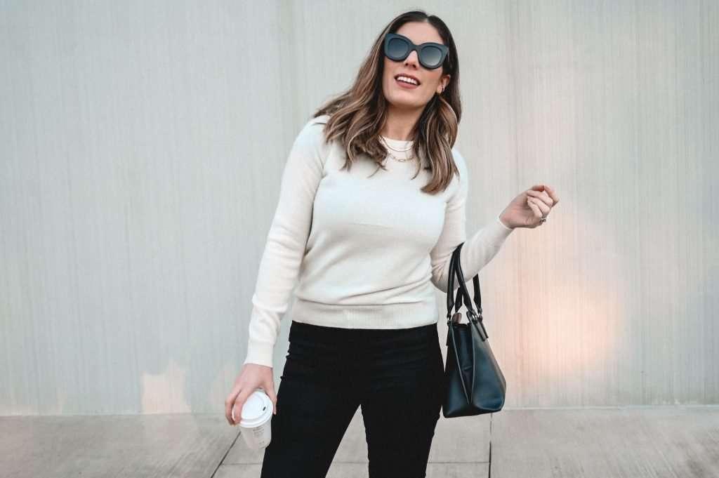 Houston fashion influencer in Mott & Bow jeans