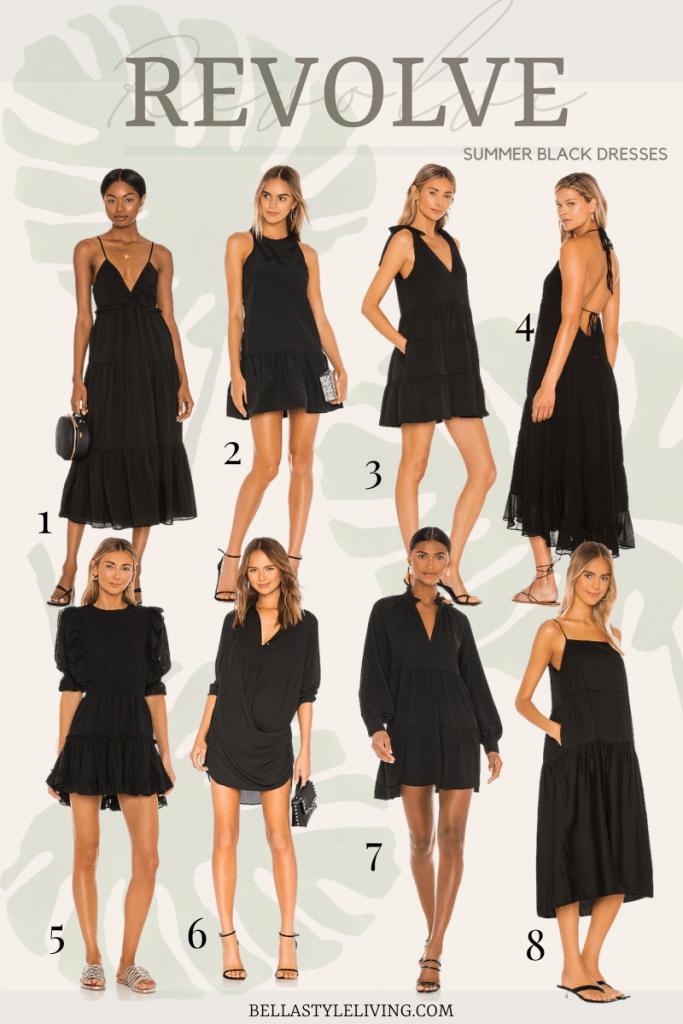 black summer dresses from Revolve