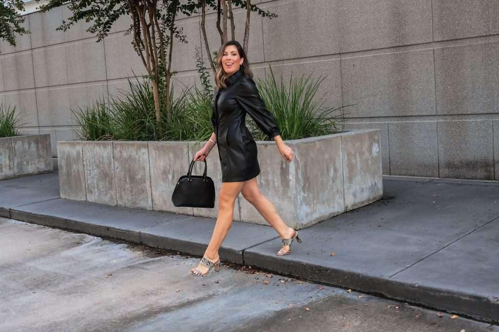 Houston lifestyle blogger styles faux leather shirt dress 2 ways