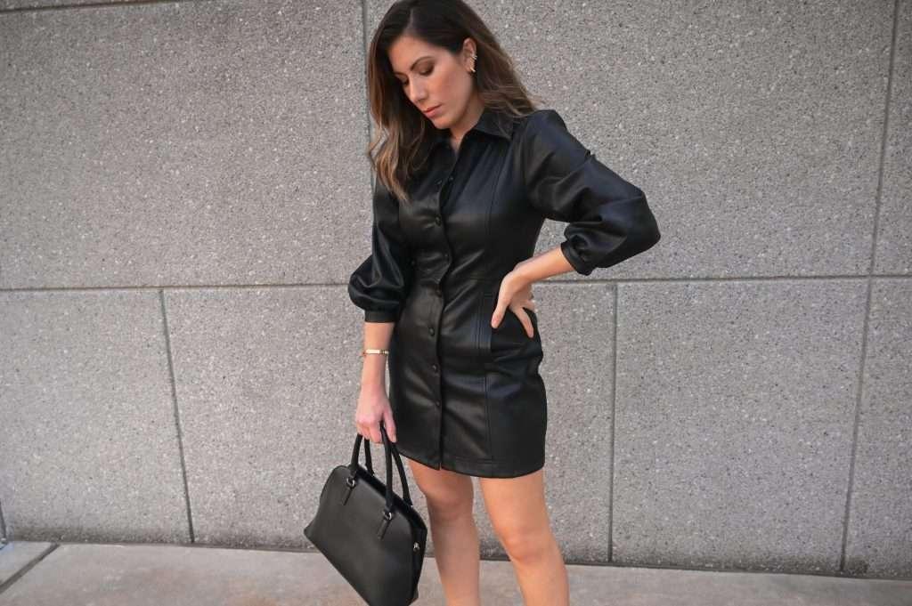 Houston blogger Maria Munoz styles a faux leather dress