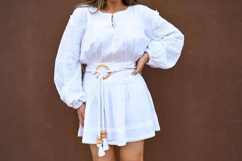 Houston lifestyle blogger in Tularosa dress