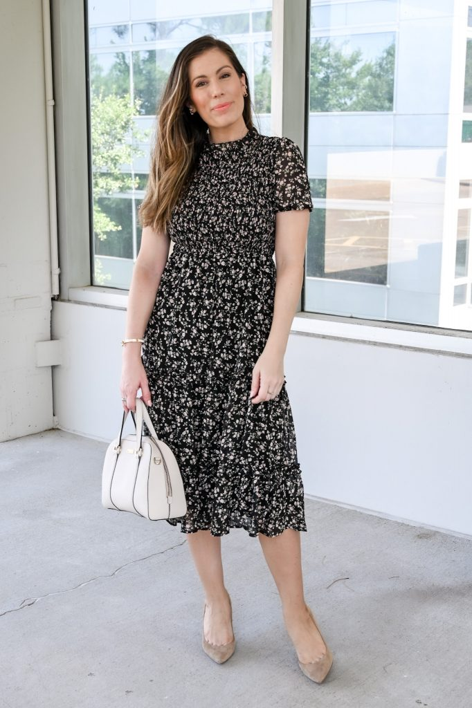Houston style blogger in floral fall dress